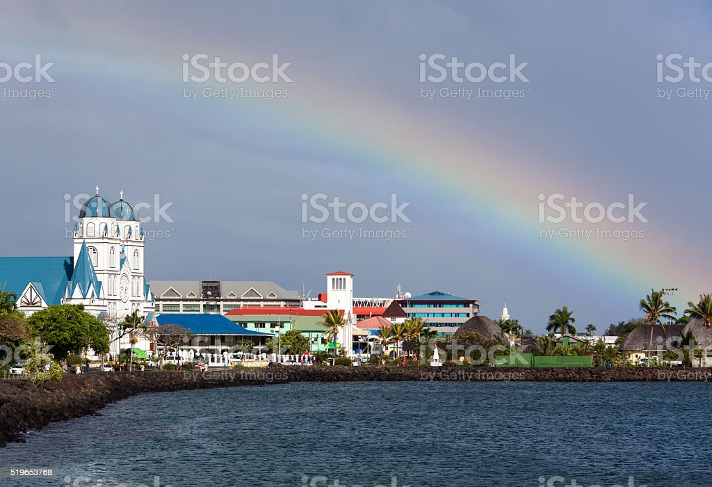 Rainbow Over Pacific stock photo