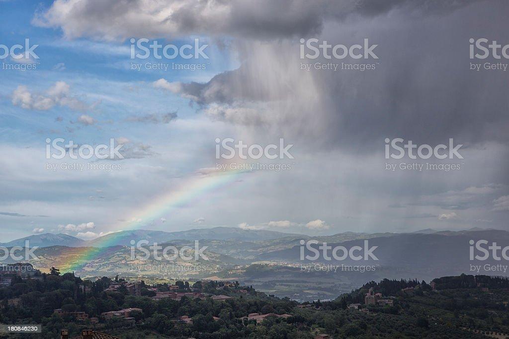 Rainbow over Perugia, Italy royalty-free stock photo