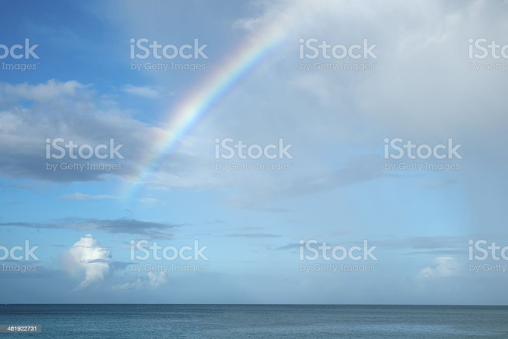 Rainbow Over the Caribbean Sea stock photo