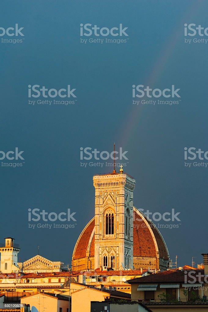 rainbow over the Dome of Santa Maria del Fiore, florence stock photo