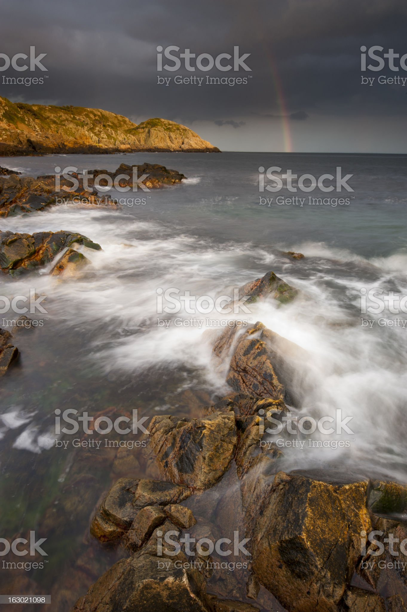 Rainbow over the hill royalty-free stock photo