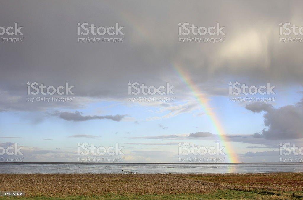 Rainbow over the North Sea stock photo