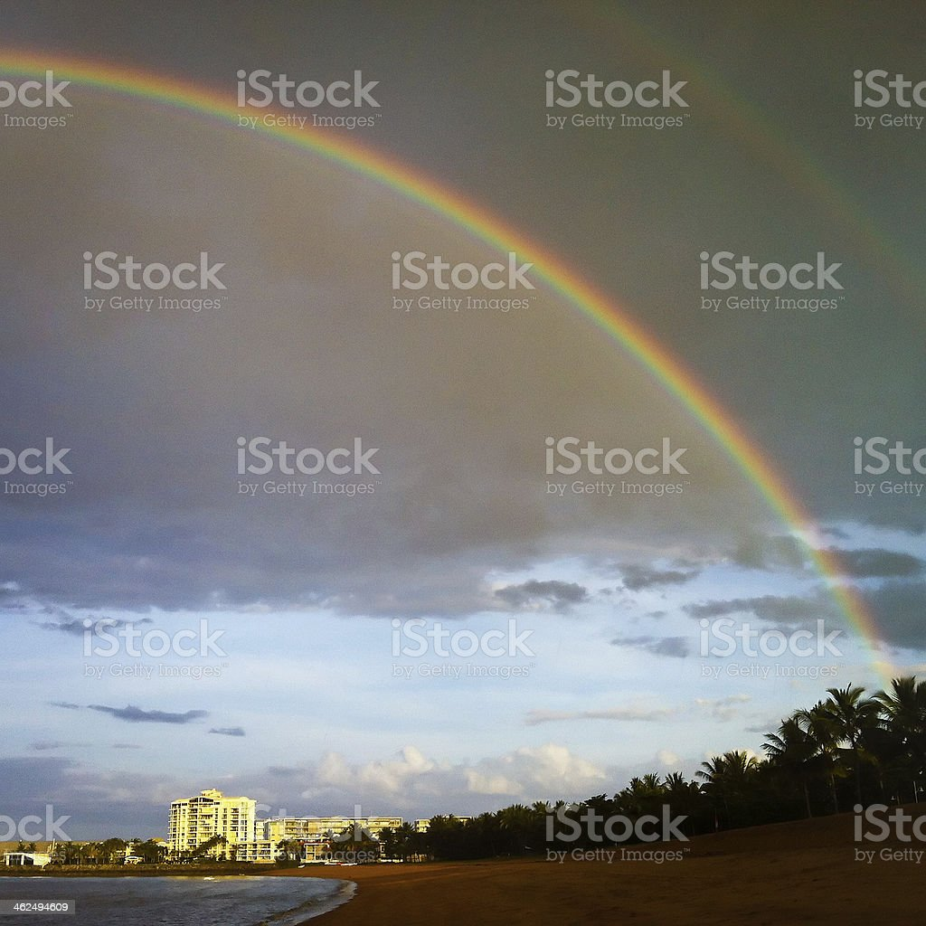 Rainbow over The Strand, Townsville stock photo