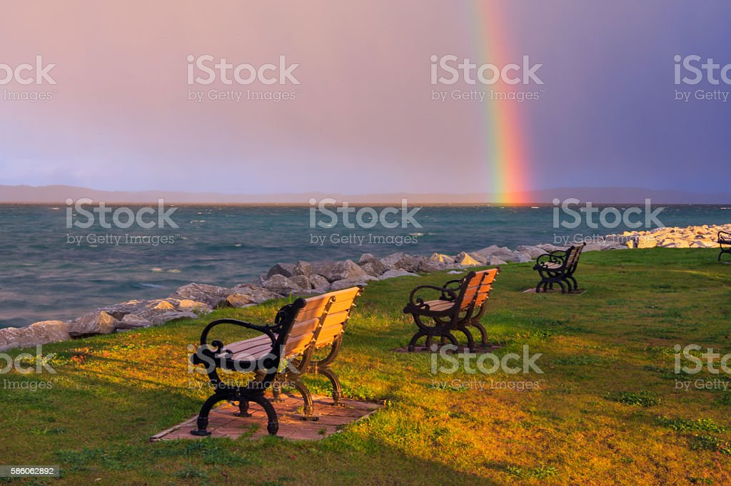 Rainbow Over Traverse Bay stock photo