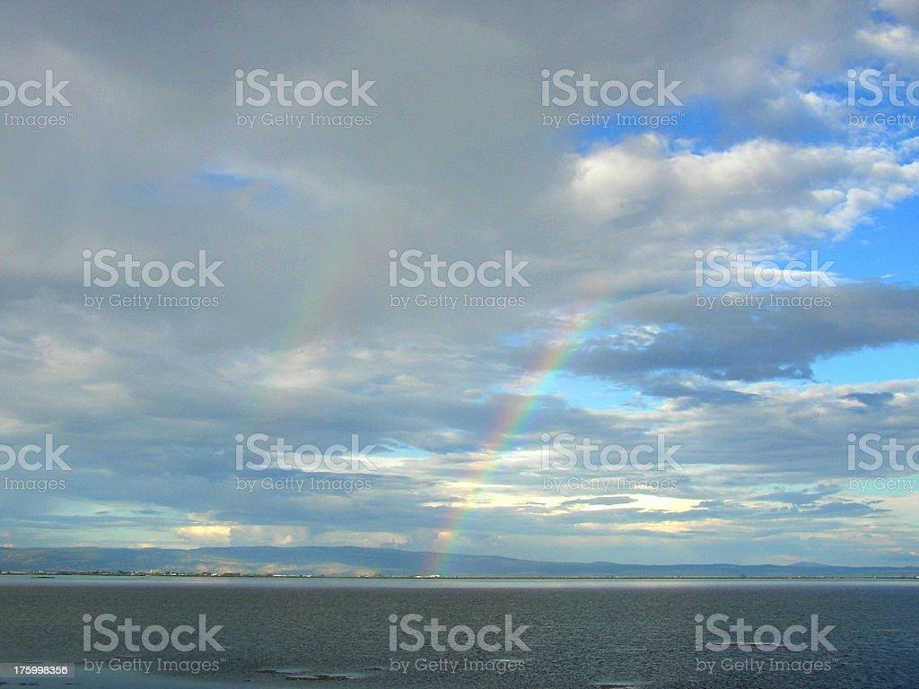 Rainbow over Tule Lake royalty-free stock photo