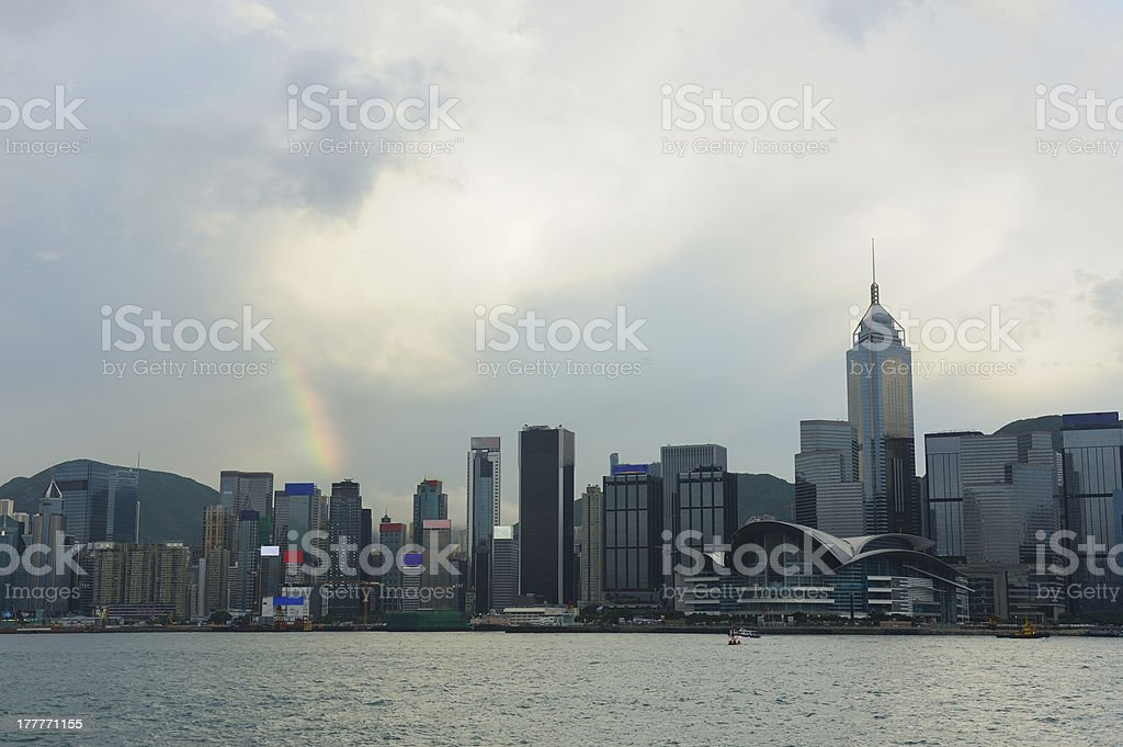 Rainbow over  Victoria Harbor stock photo