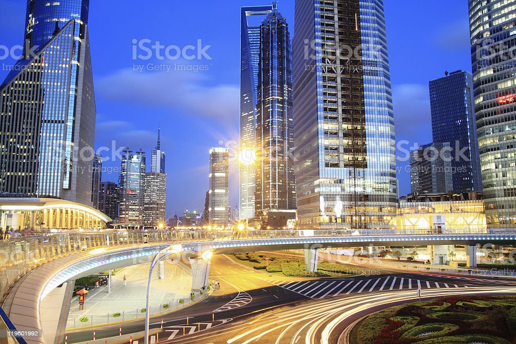 Rainbow overpass highway night scene in Shanghai royalty-free stock photo
