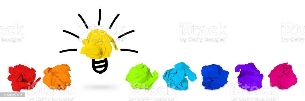 rainbow paper balls idea concept stock photo