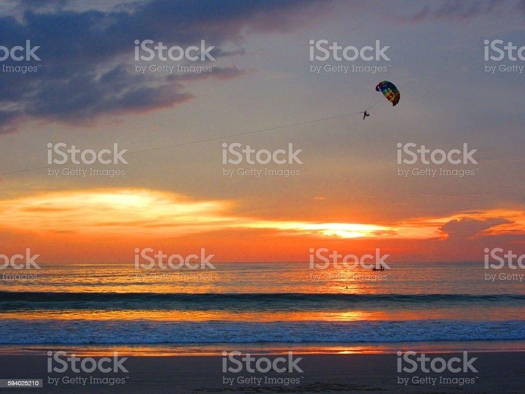Rainbow Parasail at Sunset - Horizontal stock photo