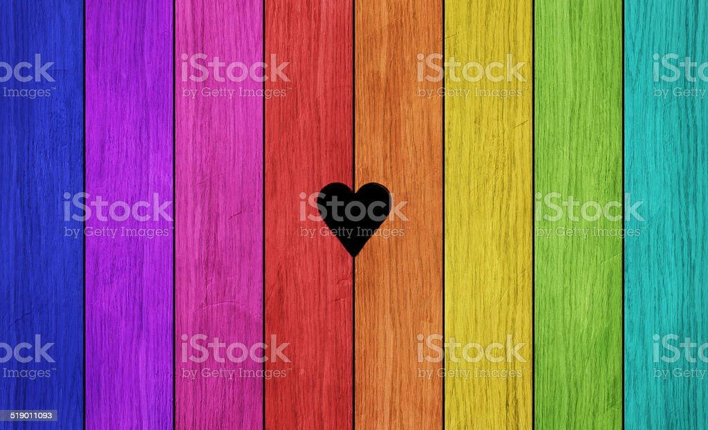 Rainbow Plank Wall stock photo