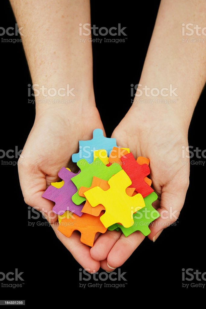 Rainbow Puzzle Pieces royalty-free stock photo