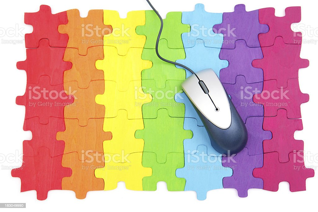 Rainbow Puzzle with Mouse royalty-free stock photo