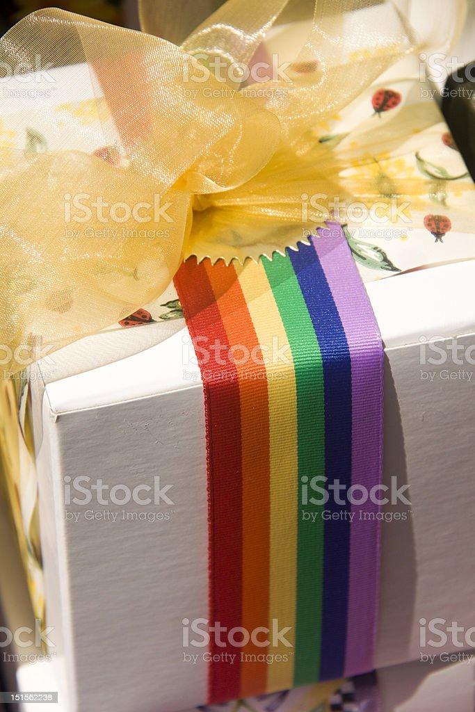Rainbow Ribbon on Gift Box stock photo