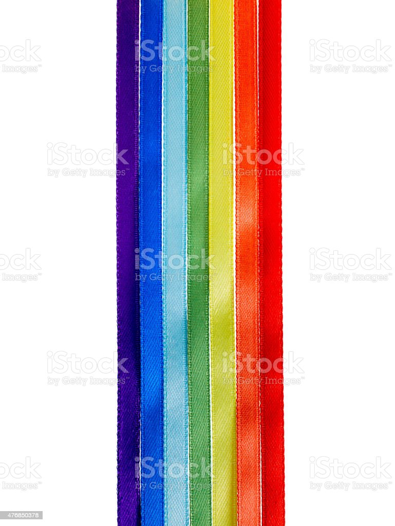 rainbow ribbons, gay LGBT sign is isolated on white background, stock photo