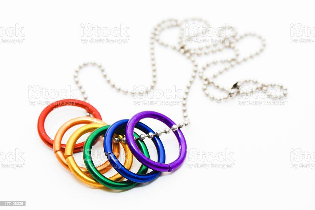 Rainbow Ring Necklace stock photo