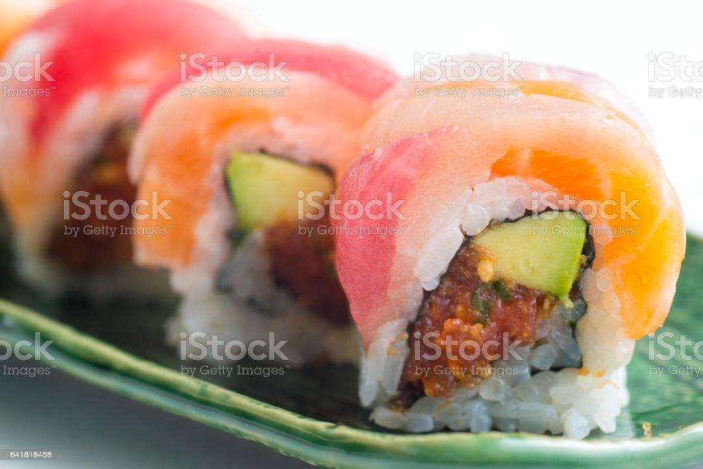rainbow roll sushi stock photo