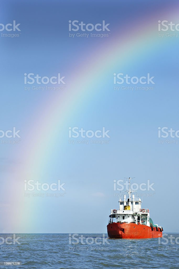 Rainbow ship stock photo