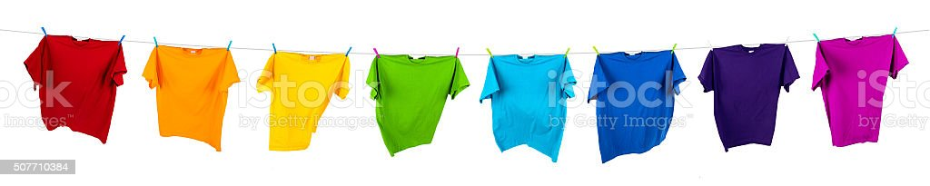 rainbow shirts on line stock photo