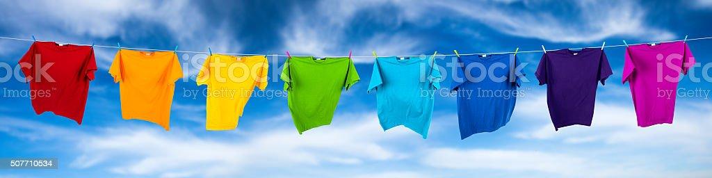 rainbow shirts on line stock photo