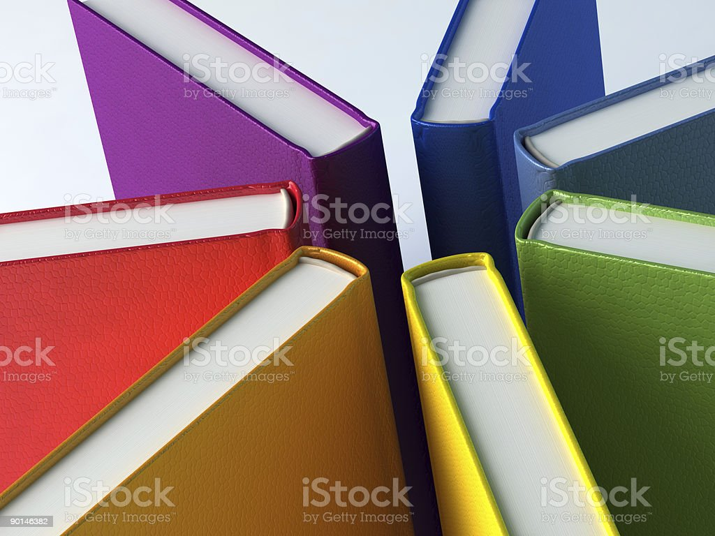 Rainbow star from books stock photo