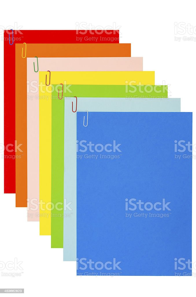 Rainbow Stationery With Paper-Clips 04 stock photo
