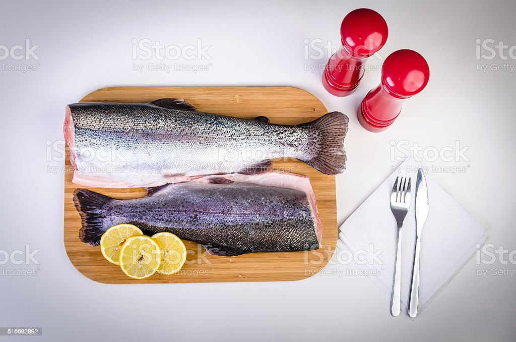 Rainbow trout lunch concept stock photo