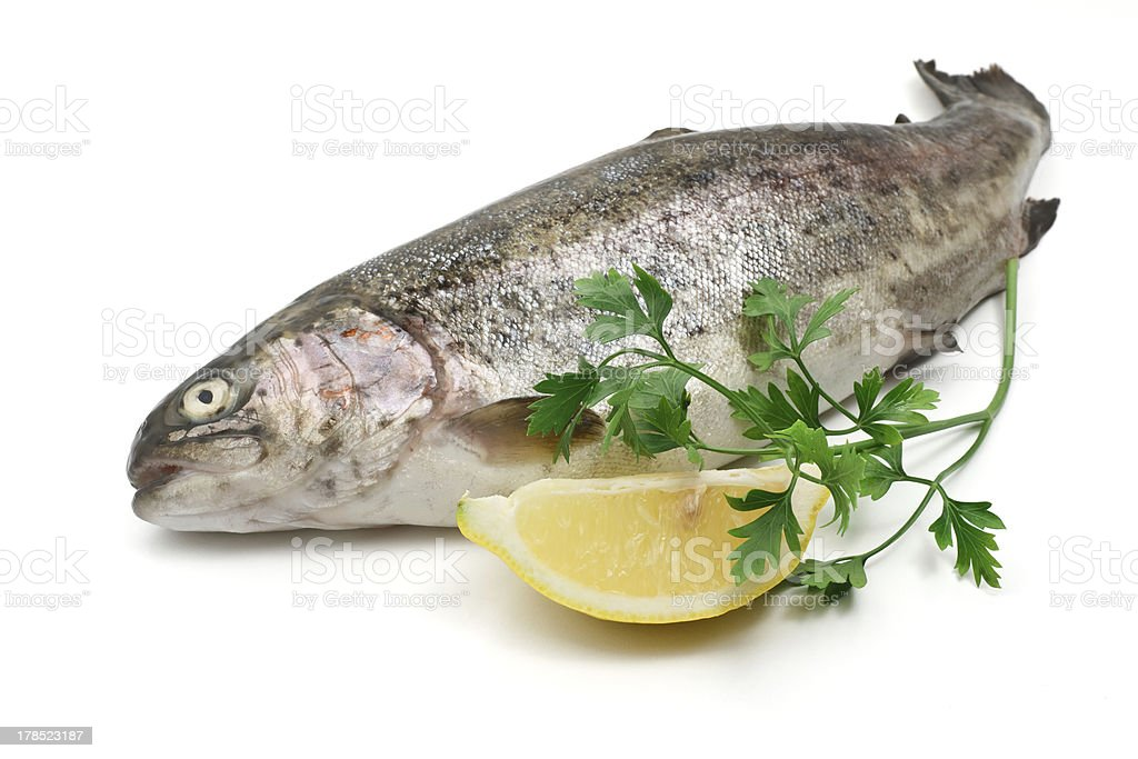 rainbow trout with lemon royalty-free stock photo
