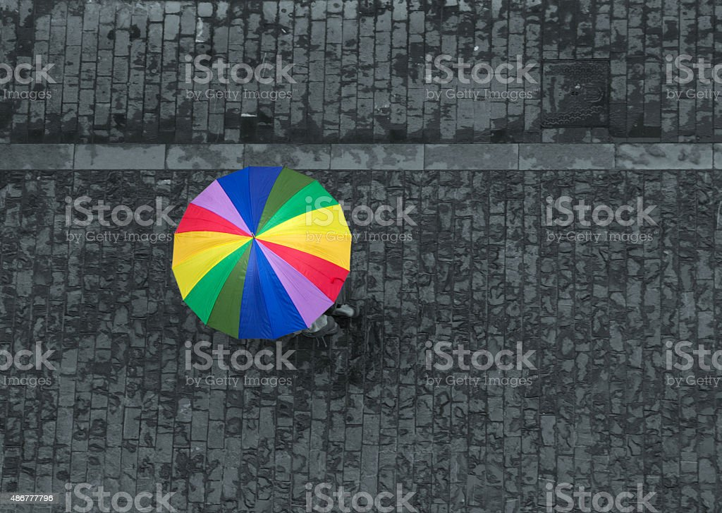 rainbow umbrella stock photo