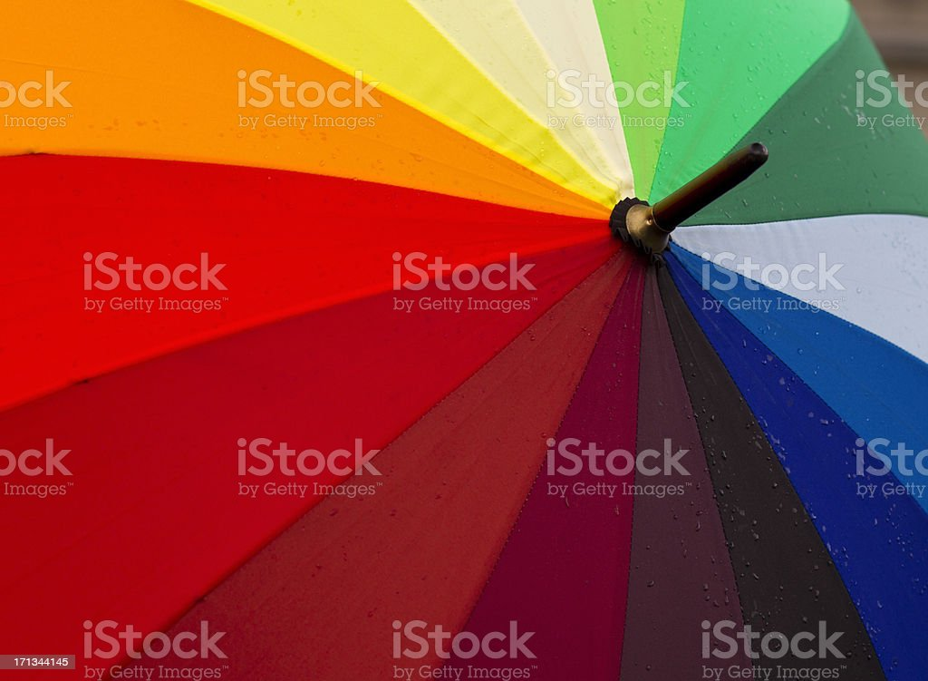 Rainbow umbrella with rain drops royalty-free stock photo