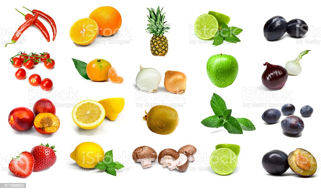 Rainbow vegetables and fruits isolated on a white background stock photo
