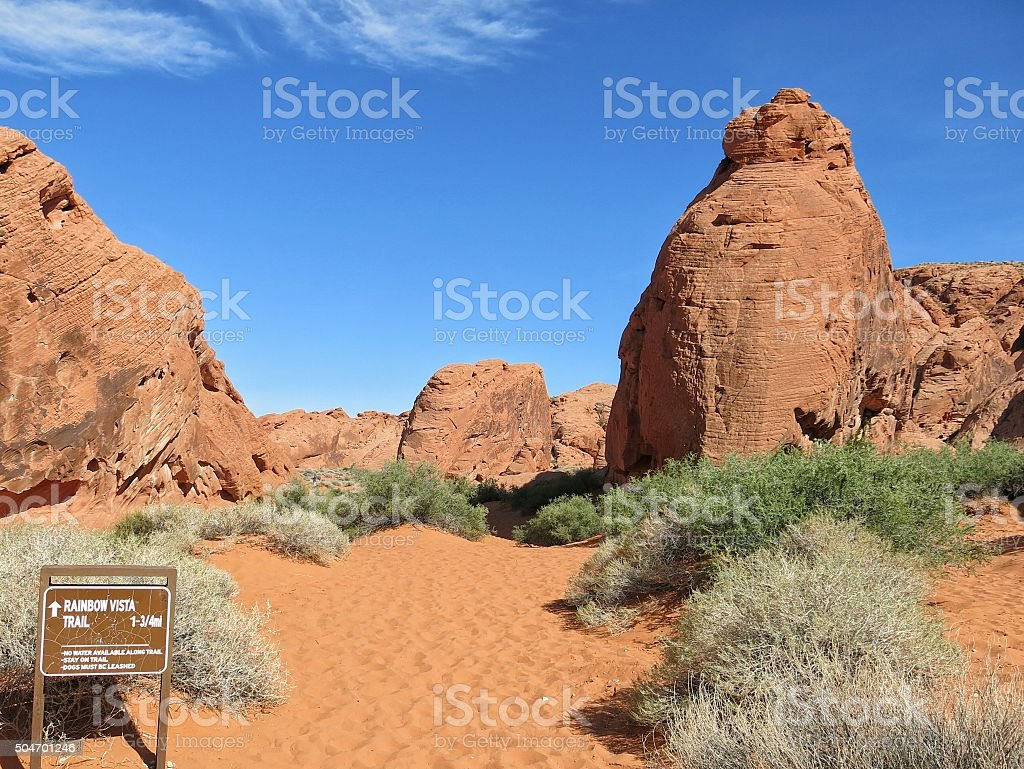 Rainbow Vista Trail, Red Rocks Formations, Valley of Fire, Nevada stock photo