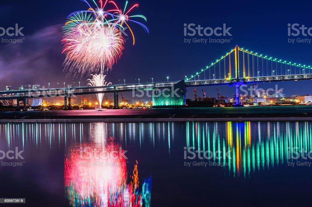 Rainbow-Bridge and Fireworks stock photo