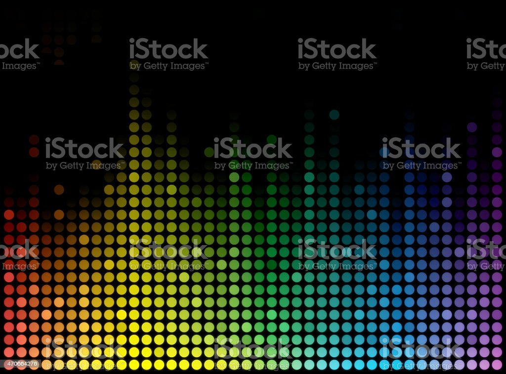 Rainbow-colored abstract circles in wave pattern stock photo