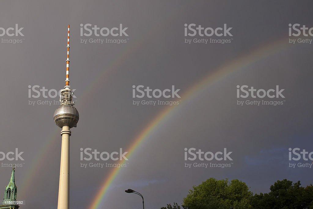 Rainbows and television tower in Berlin stock photo