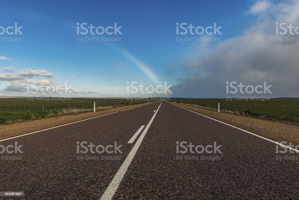 Rainbow's End, Sealed Road, Outback, Australia stock photo
