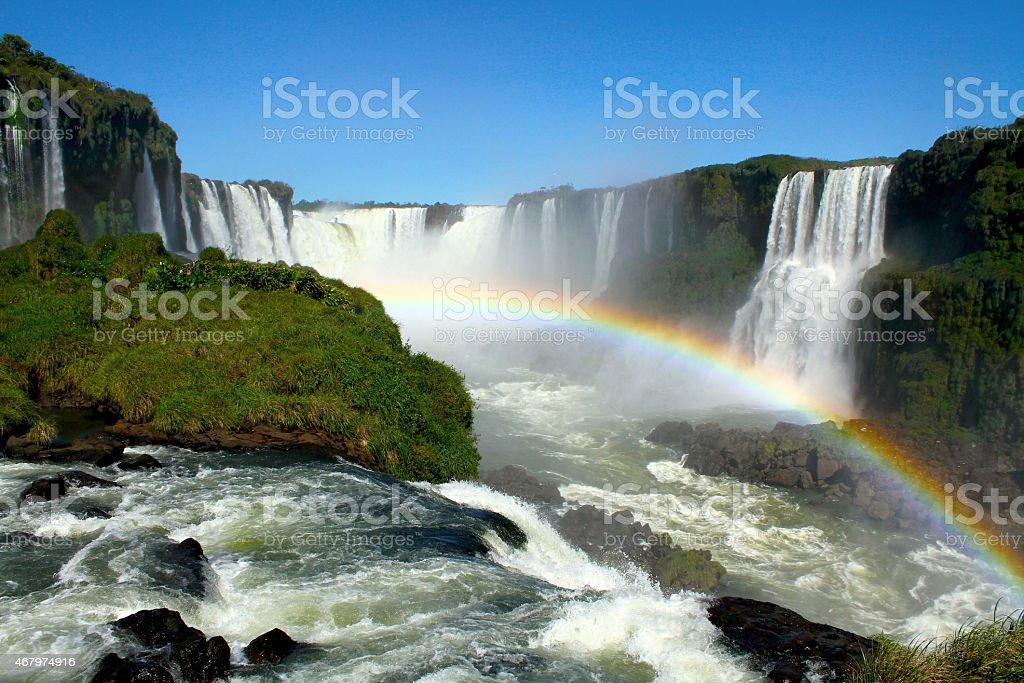 Rainbows in the Igua?u waterfalls stock photo