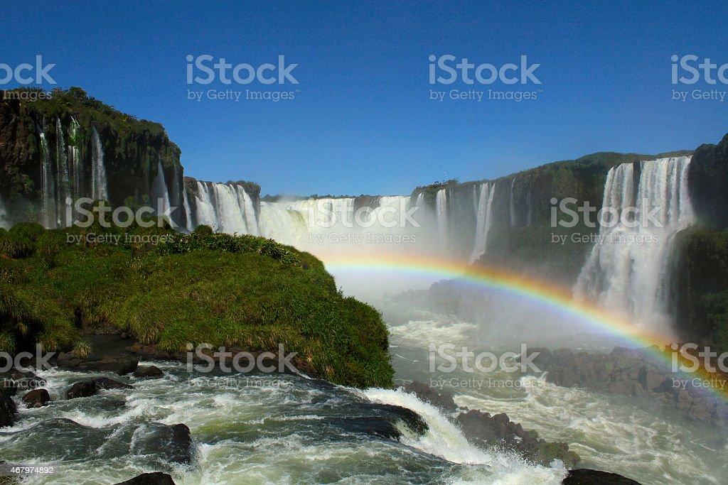 Rainbows in the waterfalls of Igua?u . stock photo