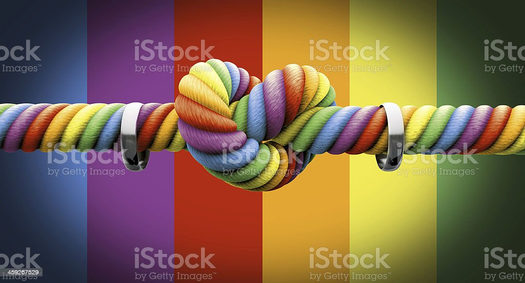 Rainbows respect gay marriage tying the knot with rings stock photo
