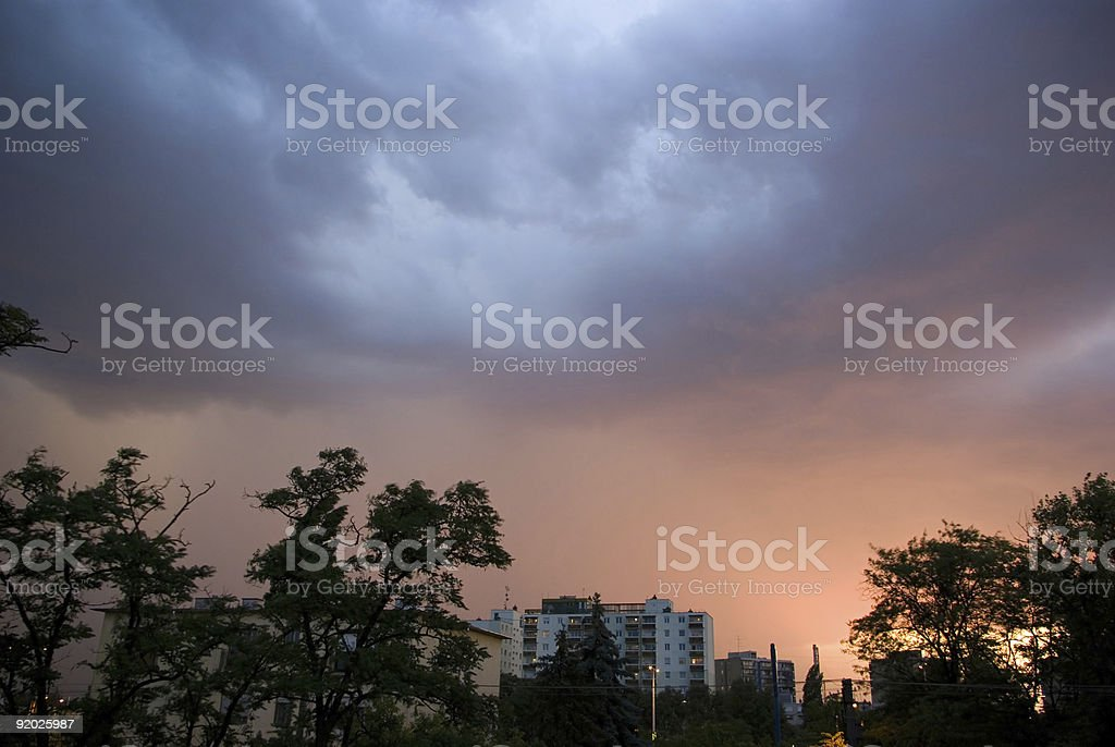Rainclouds above city royalty-free stock photo
