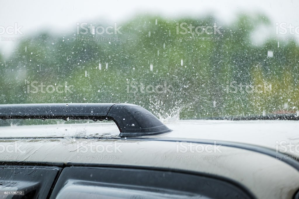 Raindrop fall on roof car stock photo