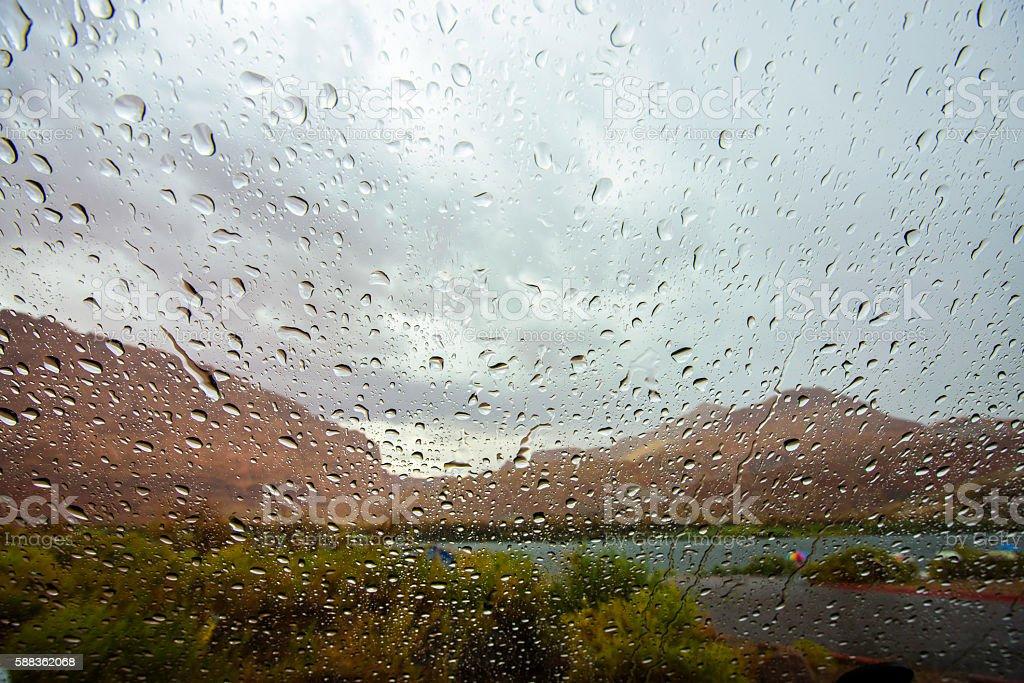 Raindrop on windshield stock photo