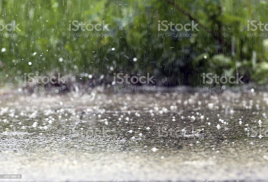 Raindrops falling in a sidewalk stock photo