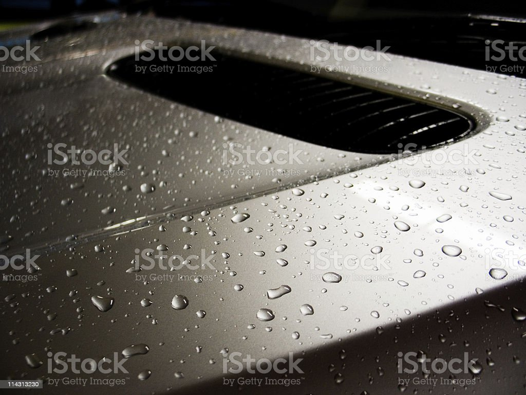 Raindrops on an SUV royalty-free stock photo
