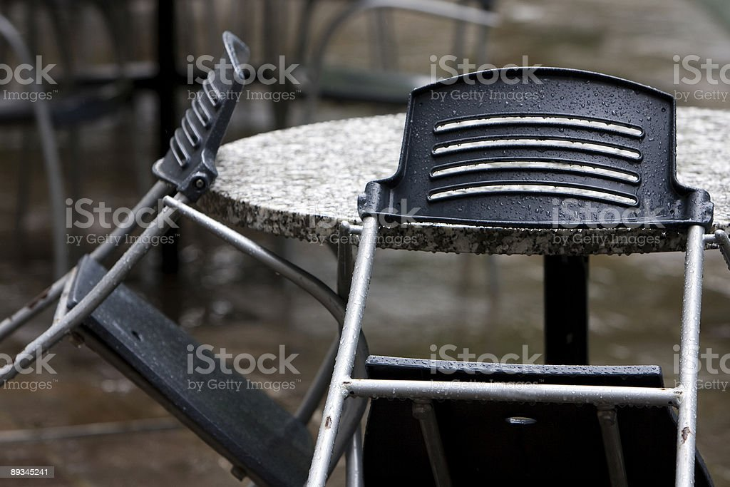 Rained out cafe stock photo
