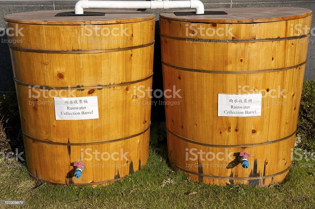 Rainfall Collection Barrel for Water Conservation stock photo