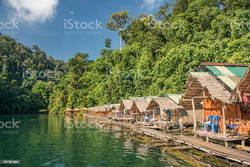 Rainforest Jungle Huts, Khao Sok National Park, Thailand stock photo