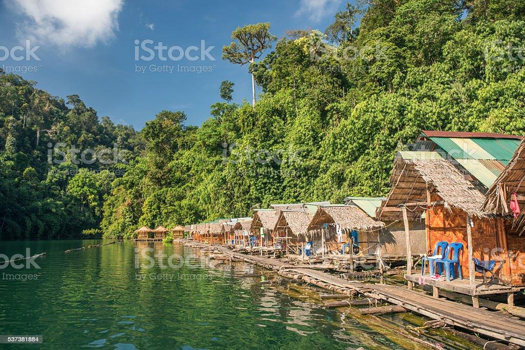 Rainforest Jungle Huts, Khao Sok National Park, Thailand stock photo