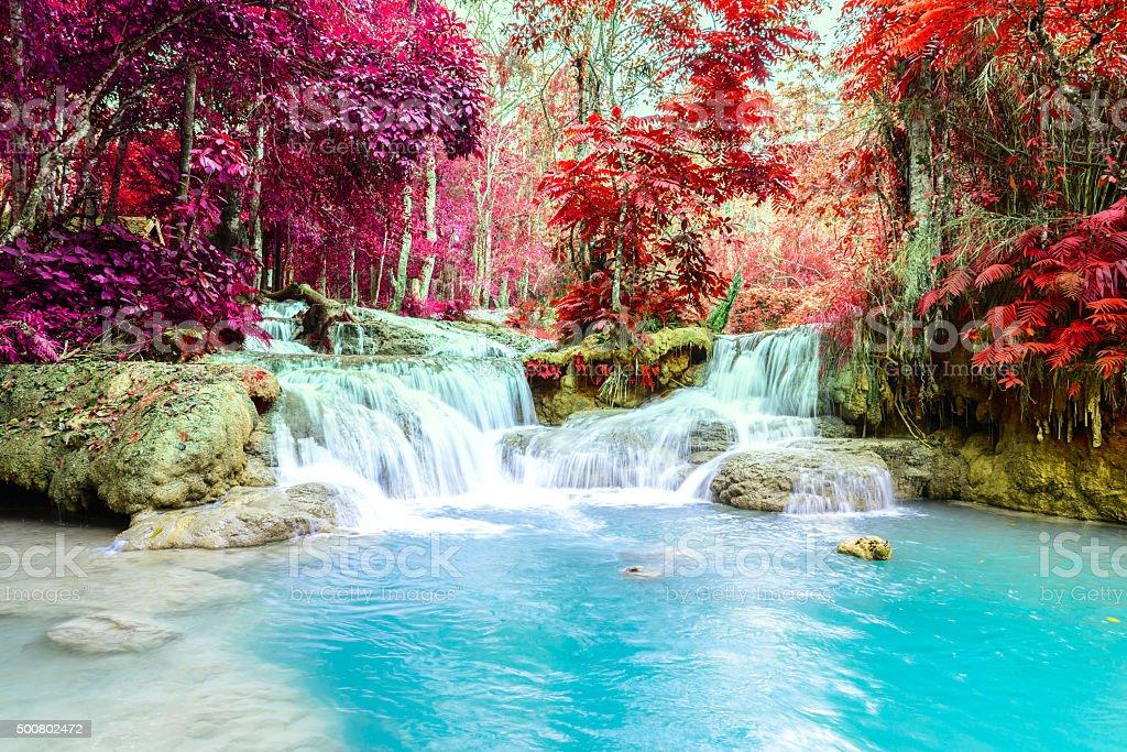 Rainforest waterfall, Tat Kuang Si Waterfall at Luang Prabang, Loas. stock photo