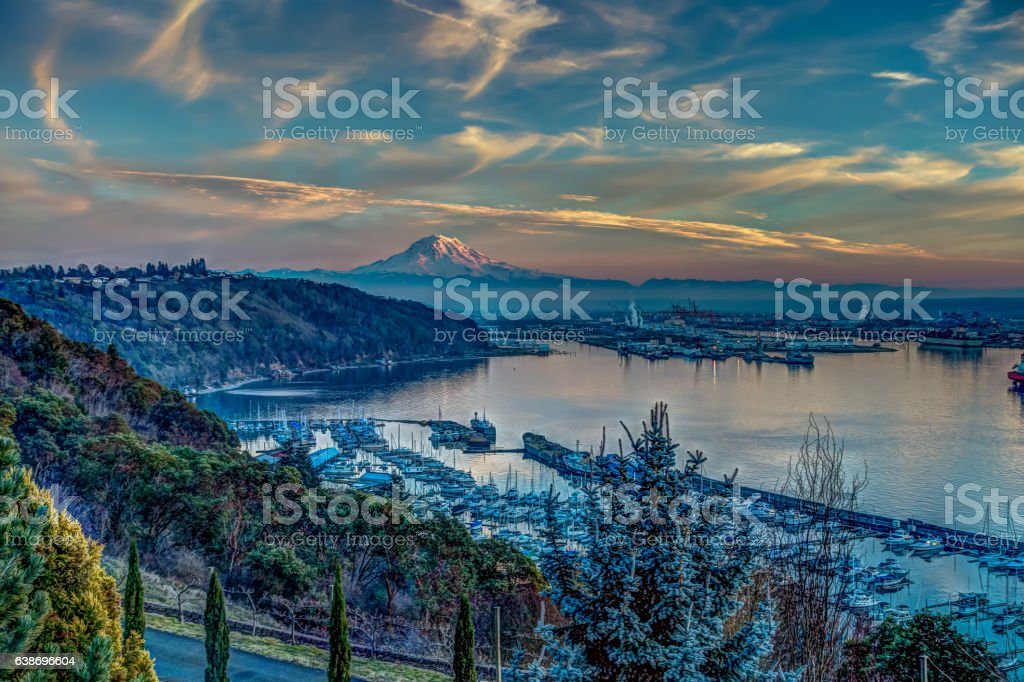 Rainier And Port - Alternate Reality stock photo