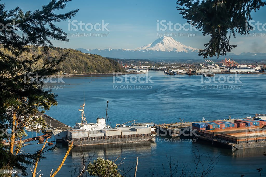 Rainier and Port Panoramic 3 stock photo